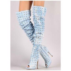 Liliana Spike Jean Peep Toe Thigh High Boots